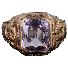 10K Victorian 4.00 Ct Syn. Spinel Ornate Decorative Ring Size 8.5 Yellow Gold [QWXS]