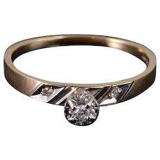 10K Diamond Inset Peg Head Engagement Ring Size 7 Yellow Gold [QWXS]