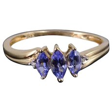 10K 0.62 Ctw Tanzanite Diamond Three Stone Marquise Ring Size 7 Yellow Gold [QWXS]