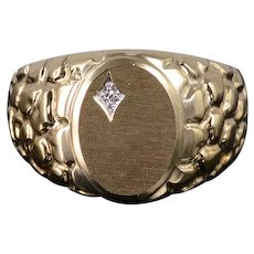 10K Diamond Textured Oval Nugget Mens' Band Ring Size 10 Yellow Gold [QWXS]
