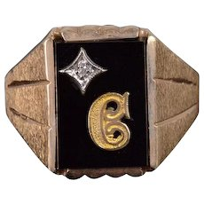 10K Black Onyx Diamond C Initial Textured Mens' Ring Size 10 Yellow Gold [QWXS]