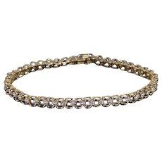 "10K Diamond Scalloped Raised Link Tennis Bracelet 7"" Yellow Gold  [QWXK]"