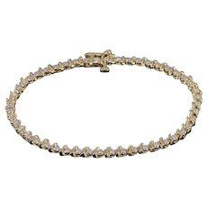 "14K 0.48 Ctw Diamond Inset Wavy Link Tennis Bracelet 7"" Yellow Gold  [QWXK]"