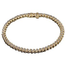 "14K 1.65 Diamond Wavy Link Tennis Bracelet 7"" Yellow Gold"