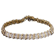 "10K 0.74 Ctw Diamond Starburst Wavy Link Tennis Bracelet 7"" Yellow Gold"