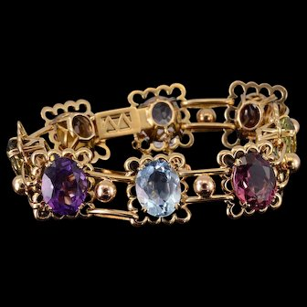 "18K 48.00Ctw Citrine Amethyst Garnet Peridot Bracelet 7.25"" Yellow Gold  [QWXS]"