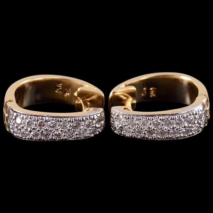 14k Diamond Encrusted Pave Oval Hoop Earrings Yellow Gold Qwxs