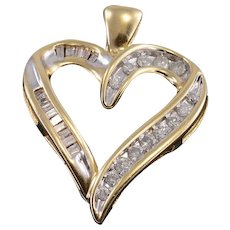 10K Diamond Encrusted Channel Inset Heart Pendant Yellow Gold  [QRXQ]