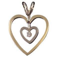 14K Two Tone Diamond Inset Swing Swivel Heart Pendant Yellow Gold