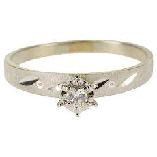 10K Retro Diamond Inset Peghead Textured Engagement Ring Size 7.5 White Gold [QRXQ]