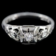 18K 0.17 CT Old European Cut Diamond Filigree Solitaire Engagement Ring - Size 5.5 / White Gold