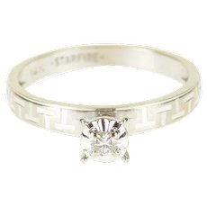 14K Diamond Inset Peghead Patterned Engagement Ring Size 6.25 White Gold [QWXS]