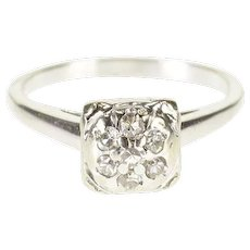 14K 0.21 Ctw Diamond Cluster Squared Engagement Ring Size 6.5 White Gold [QWXS]