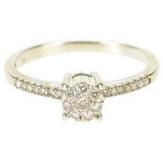 8K 0.30 Ctw Diamond Cluster Engagement Accent Ring Size 5 White Gold [QWXS]
