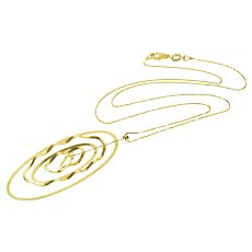 """18K Tiered Oval Pendant Box Link Chain Necklace 17"""" Yellow Gold  [QRXQ]"""
