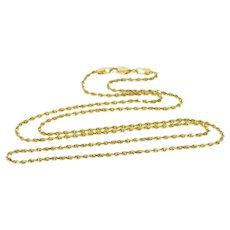 """14K 1.1mm Pressed Curb Link Chain Necklace 15.25"""" Yellow Gold  [QWXS]"""
