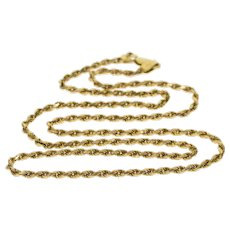 "14K 2.2mm Pressed Rope Link Chain Necklace 22"" Yellow Gold  [QWXS]"