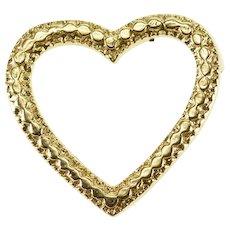 14K Heart Dot Milgrain Trim Charm/Pendant Yellow Gold