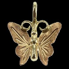 10K Two Tone Butterfly Insect Animal Charm/Pendant Yellow Gold