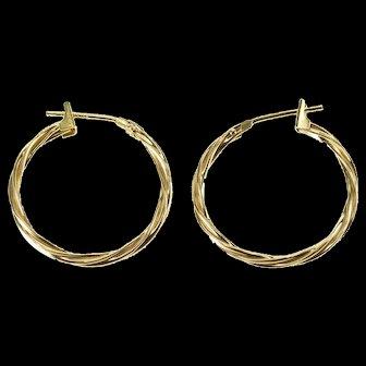 14K Woven Twist Hoop Earrings Yellow Gold  [QWXS]