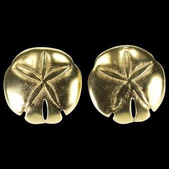 14K 3D Sand Dollar Seashell Beach Post Back Earrings Yellow Gold  [QWXS]