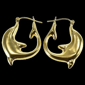 14K Puffy Curved Dolphin Oval Hoop Earrings Yellow Gold  [QWXS]