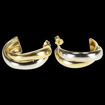 14K Two Tone Intertwined Rounded Semi Hoop Earrings Yellow Gold  [QWXS]