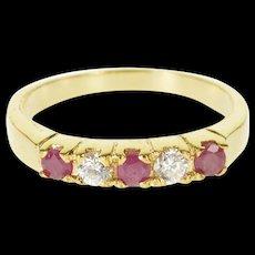 14K Ruby Cubic Zirconia Alternating Five Stone Ring Size 6.75 Yellow Gold [QRXQ]