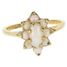 10K Opal Inset Marquise Halo Pointed Prong Ring Size 6 Yellow Gold