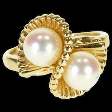 10K Pearl Twist Fanned Dotted Setting Ring Size 5.75 Yellow Gold [QRXQ]