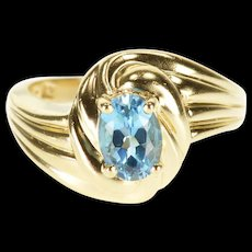 14K Blue Topaz Scalloped Oval Wavy Bypass Ring Size 6 Yellow Gold [QRXQ]
