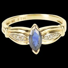 14K Sapphire Diamond Marquise Inset Grooved Fancy Ring Size 4.25 Yellow Gold [QRXQ]