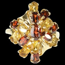 10K Garnet Citrine Encrusted Cluster Oval Prong Ring Size 8 Yellow Gold [QRXQ]