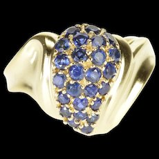 10K Pave Sapphire Encrusted Wavy Teardrop Ring Size 6 Yellow Gold [QRXQ]
