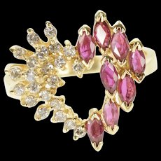 14K Diamond Ruby Marquise Round Encrusted Heart Ring Size 6.75 Yellow Gold [QRXQ]