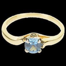 14K Sky Blue Topaz Round Prong Set Cutout Bridge Ring Size 6.75 Yellow Gold [QRXQ]