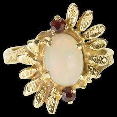 14K Opal Garnet Textured Leaf Semi-Halo Burst Ring Size 5.75 Yellow Gold [QRXQ]