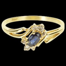 14K Sapphire Diamond Accented Oval Bypass Ring Size 7.25 Yellow Gold [QRXQ]