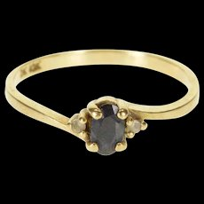 10K Sapphire Oval Cubic Zirconia Accents Ring Size 6.25 Yellow Gold [QRXQ]
