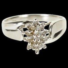 10K Diamond Starburst Pointed Cluster Textured Bypass Ring Size 7 White Gold [QRXQ]