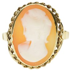 14K Carved Oval Cameo Bezel Rope Twist Trim Ring Size 7 Yellow Gold