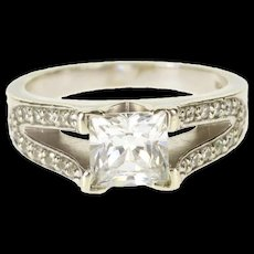 10K Encrusted Princess Channel Travel Engagement Ring Size 4.75 White Gold [QRXQ]
