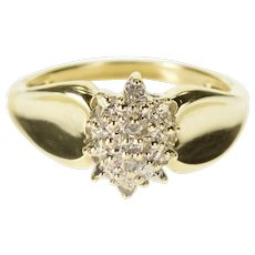 10K Diamond Encrusted Pointed Cluster Starburst Ring Size 7 Yellow Gold [QWXS]