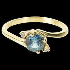 10K Sky Blue Topaz Round Diamond Accented Bypass Ring Size 4.25 Yellow Gold [QRXQ]