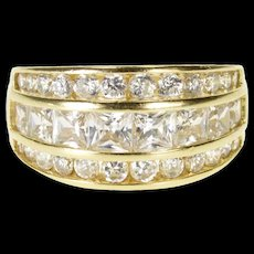 14K Channel Graduated Round Cubic Zirconia Encrusted Ring Size 5 Yellow Gold [QRXQ]