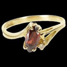 10K Garnet Marquise Diamond Accented Cutout Ring Size 6.25 Yellow Gold [QRXQ]