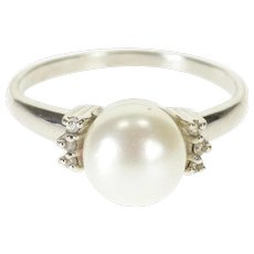 14K Pearl Diamond Accented Raised Statement Ring Size 7 White Gold [QWXS]