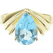 10K Pear Cut Blue Topaz Grooved Pointed Chevron Ring Size 8 Yellow Gold