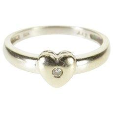 10K Diamond Flush Inset Rounded Heart Promise Ring Size 7 White Gold