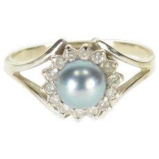 14K Tahitian Pearl Diamond Halo Round Split Band Ring Size 7.5 White Gold [QWXS]